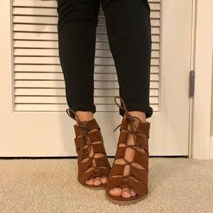 Qupid Shoes Peep Toe Lace Up Heels
